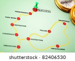 Push pin showing the direction on the road to success - stock photo
