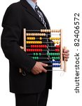 Office clerk or accountant holding an abacus over white background - stock photo