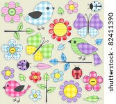 Nature Textile Stickers. Set 1...