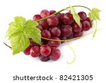 Red Grapes With Fresh Leaves ...