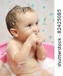 adorable baby boy taking a bath ... | Shutterstock . vector #82425085