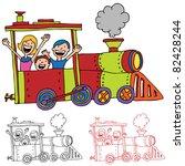 an image of children riding on... | Shutterstock .eps vector #82428244