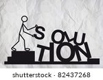 Business solution, providing solutions. Simple illustration of a humanoid figure sorting letters to form a word SOLUTION. - stock photo