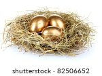 Golden Eggs In Nest Isolated On ...