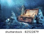 photo of open treasure chest... | Shutterstock . vector #82522879
