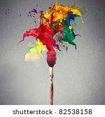 brush full of colored paint | Shutterstock . vector #82538158