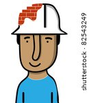 builder with a brick made helmet - stock vector
