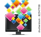 monitor with transparent squares | Shutterstock .eps vector #82547938