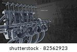 Engine 3d Technology Background. gray - stock photo