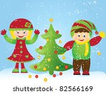 christmas tree card with... | Shutterstock .eps vector #82566169