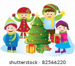 christmas tree card with... | Shutterstock .eps vector #82566220