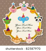Cartoon Party Animal Head Card