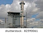 industrial building with shinny metal tubes - stock photo