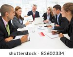 mixed group in business meeting | Shutterstock . vector #82602334