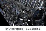 V8 engine 3D - stock photo