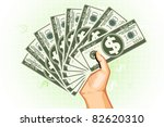 illustration of man holding dollar currency on abstract background - stock vector