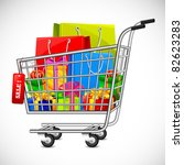 illustration of cart full of shopping bag and gift box showing sale - stock vector