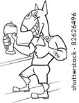 bullterrier man with glass of... | Shutterstock . vector #82626496