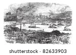 City of Pittsburgh, vintage engraved illustration. River, bridge and buildings at Pittsburgh, Pennsylvania during late 1800s. Trousset encyclopedia (1886 - 1891). - stock vector