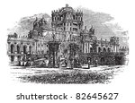 La Martiniere College in Lucknow, Uttar Pradesh, India, during the 1890s, vintage engraving. Old engraved illustration of La Martiniere College. Trousset encyclopedia (1886 - 1891). - stock vector