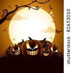 halloween pumpkins under the... | Shutterstock .eps vector #82653010