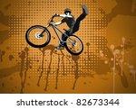 jumping biker | Shutterstock . vector #82673344