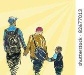 family walking together  vector | Shutterstock .eps vector #82677013