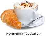 Coffee And Croissant On A Whit...