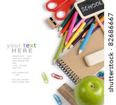 school stationery isolated over
