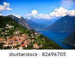 Lugano City With The View Of...