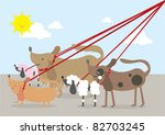 Stock vector walking dogs vector illustration 82703245