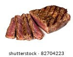 Grilled beef steak, sliced, isolated on white background. - stock photo