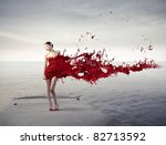 beautiful woman on a pier with... | Shutterstock . vector #82713592