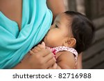 mom breast feeding her baby... | Shutterstock . vector #82716988