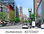 Boston City Street View With...