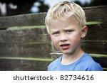 lovely 5 year old boy in deep... | Shutterstock . vector #82734616