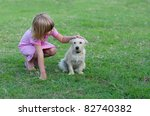 little girl playing with little ... | Shutterstock . vector #82740382