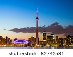 Night sky over Toronto cityscape during sunset. Taken from Center Island. - stock photo