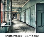 Beelitz sanatorium - scruffy blue hall - stock photo