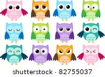 Set Of 12 Cartoon Owls With...