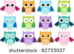 set of 12 cartoon owls with...   Shutterstock . vector #82755037
