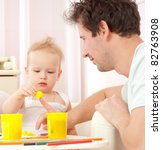 young  happy family in a room... | Shutterstock . vector #82763908