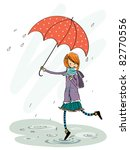 umbrella girl in rain - stock vector