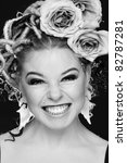 black and white portrait of... | Shutterstock . vector #82787281