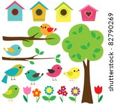 Stock vector set birds with birdhouses trees and flowers 82790269
