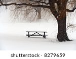 Picnic Table In Snow Under A...