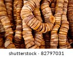 Marrakesh, Morocco: Close up of dried figs on a string in a traditional souk street market, Marrakesh, Morocco - stock photo