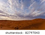 Sahara, Morocco: Landscape view of Sahara Desert sand dunes and bedouin camp, Morocco - stock photo