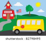 school scene with school bus | Shutterstock .eps vector #82798495