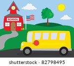 school scene with school bus   Shutterstock .eps vector #82798495